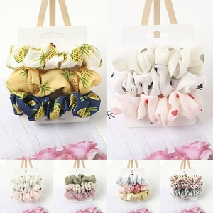 Women Hair Accessories Elastic Set Scrunchies  3PC Rope Chiffon Ponytail  Hair  Ties