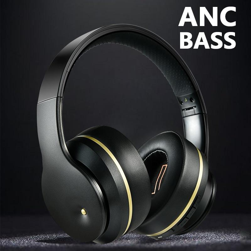 Fone de Ouvido sem Fio Fone com Micro Bluetooth Active Noise Cancelling Dobrável Fone Graves Profundos Fones Música Gaming Anc 5.0