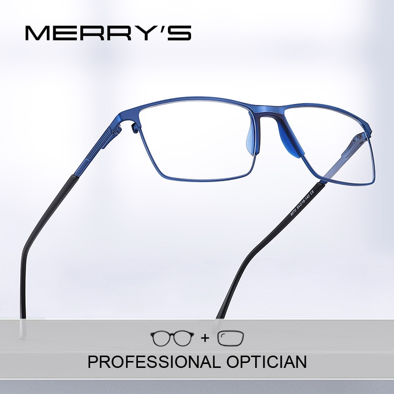 MERRYS DESIGN Men Titanium Prescription Glasses Square Myopia Full Frames Eyeglasses Male Business S
