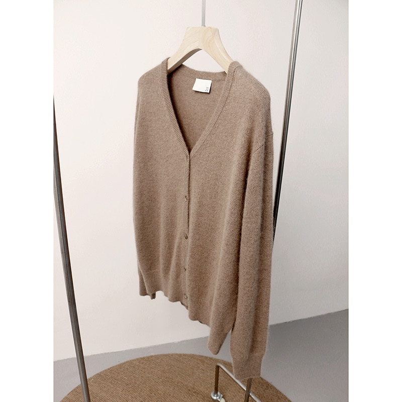 SHUCHAN Cardigan Sweater V-Neck Wool Blend Japan Style Single Breasted Knitted Items New Year Sweaters 2021 Vrouw Truien Winte enlarge