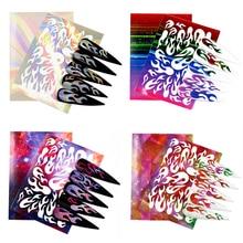 3D Holographic Color Nail Sticker 6 Color Flame Laser Nail Sticker Set Self-adhesive Rubber Flower Slide Nail Applique 2019