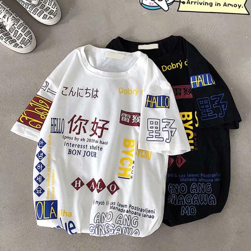 Camiseta de verano estilo japonés con grafiti para hombre, camiseta de manga corta estilo Harajuku holgada de talla grande con cuello redondo, camiseta M-2XL para hombre