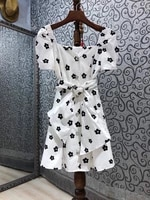 sweet cute dress 2021 summer style ladies sexy square collar color block floral print sweetheart belt deco short sleeve dress