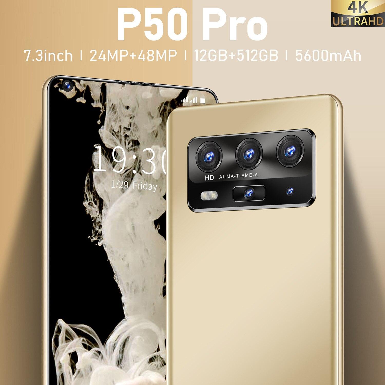 "Versão global 7.3 ""huawe p50 pro telefone móvel snapdragon 865 deca núcleo android10 12gb 512gb 5600mah rosto desbloquear celular inteligente"