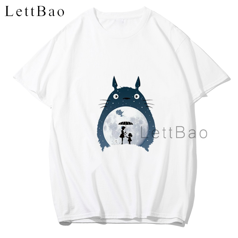 Totoro máscara Kaonashi espíritu blanco camiseta Anime camisa Harajuku Streetwear camiseta hombres Hip Hop novio regalo Unisex