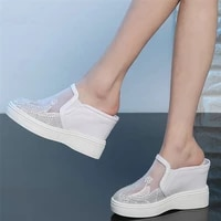 outdoor slippers women breathable lace wedges high heel gladiator sandals female round toe fashion sneakers casual oxfords shoes