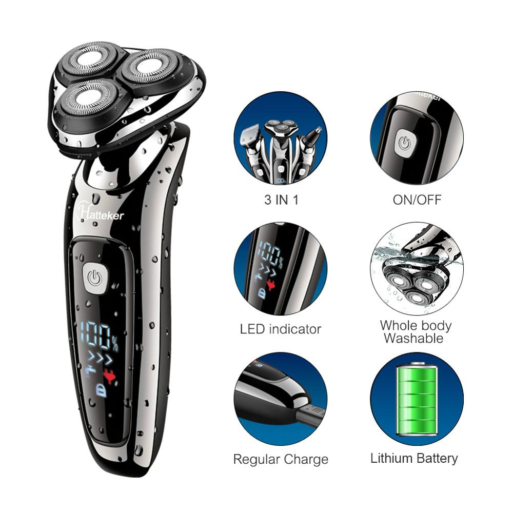 HATTEKER Rotary Electric Shaver USB Rechargeable Facial Electric Razor for Men 3 in 1 Male Grooming Kit Shaving Machine enlarge