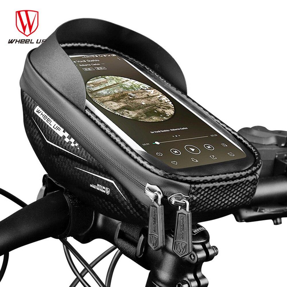 WHEEL UP Bolsa de teléfono con ruedas para bicicleta resistente a la lluvia TPU pantalla táctil soporte para teléfono móvil bolso para manillar de bicicleta MTB marco bolsa