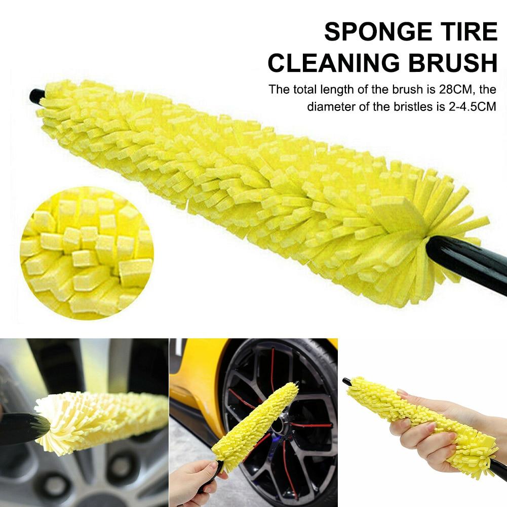 Щетка для чистки автомобильных шин, щетка с пластиковой ручкой для чистки автомобильных колес, щетка для чистки обода шин, инструменты для ч...