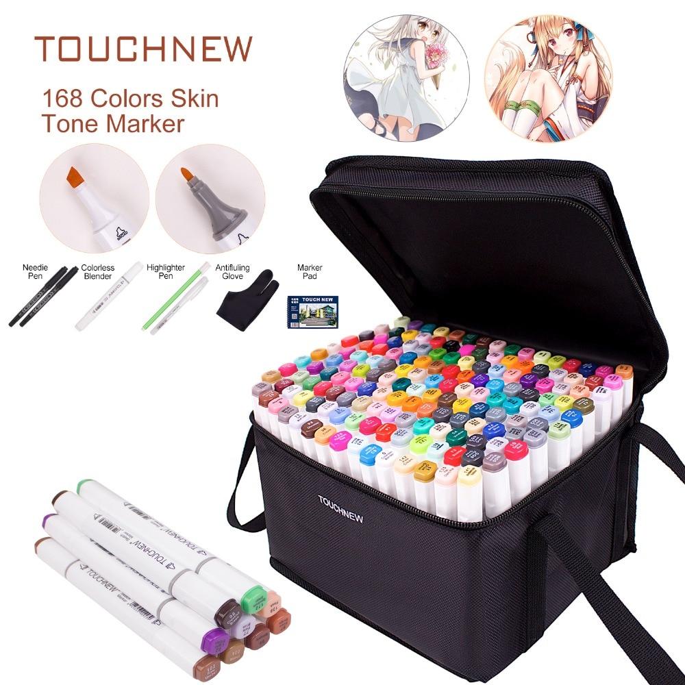 Маркеры для рисования TOUCHNEW, 40 60 80 168 цветов, спиртовые графические маркеры Twin, альбом для рисования в подарок