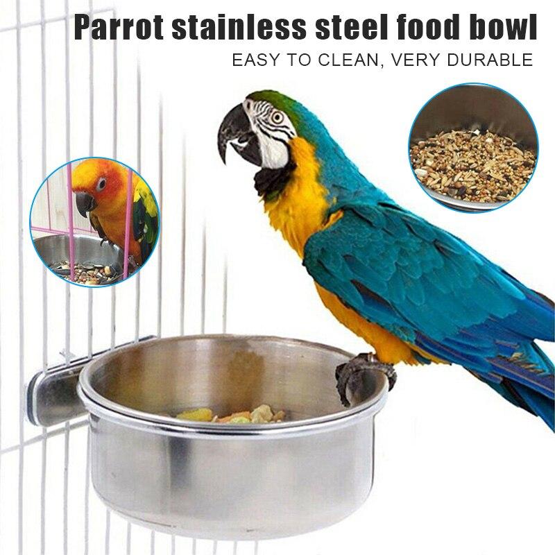 Чашки из нержавеющей стали, домашние попугаи, кормушка для еды, макароны, чаша для воды, клетка для птиц, PAK55
