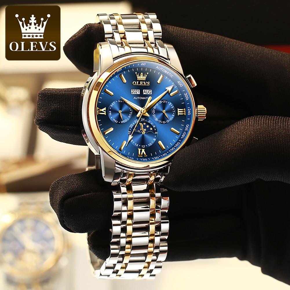 OLEVS Luxury Mens Mechancial Watches Stainless Steel Waterproof Multifunction Business Moon Phase Automatic Wristwatch Men Watch enlarge