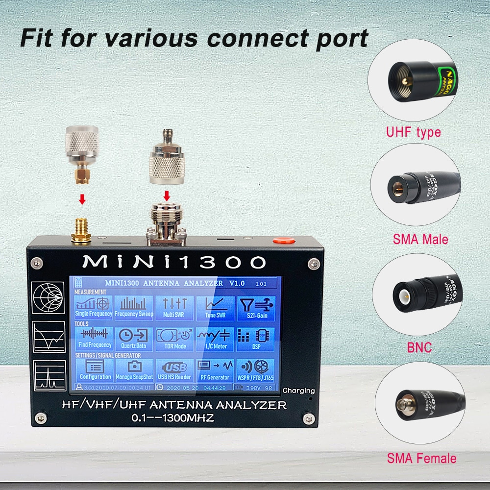 MINI1300 5V/1.5A HF VHF UHF Antenna Analyzer 0.1-1300MHZ Frequency Counter SWR Meter 0.1-1999 with 4.3