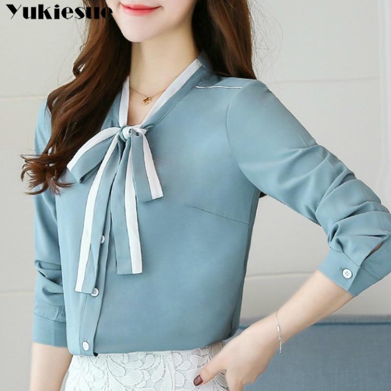 2020 verão roupas femininas manga comprida gravata borboleta camisas femininas coreano solto chiffon blusa camisa feminina blusa de cor sólida plus size
