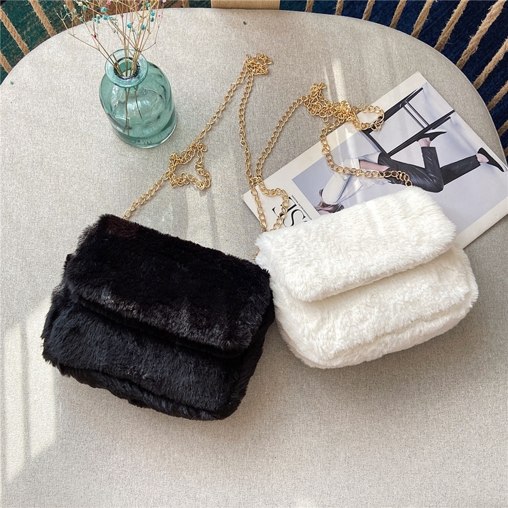 Faux Fur Crossbody Bags for Women Autumn Winter Plush Purses and Handbags Female Phone Shoulder Bag