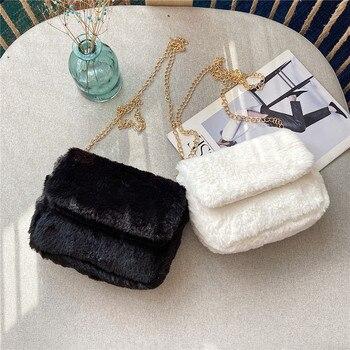 Sacs à bandoulière en fausse fourrure pour femmes automne hiver sacs à main en peluche et sacs à main femme téléphone sac à bandoulière filles portefeuille