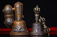 8 tibet buddhism old bronze three faced buddha head old rattle vajra set bells dorje vajra phurpa exorcism town house