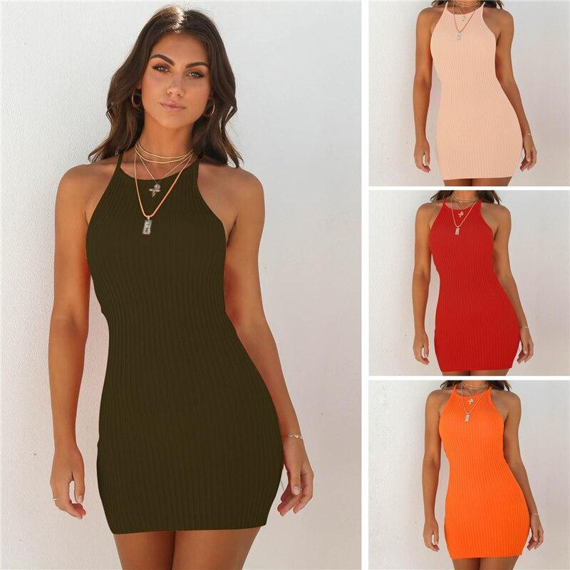 2020 Summer Women's Fashion Slim Knit Solid Dress Ladies Sexy Suspender Stretch Short Rib Dresses Evening Party Dresses