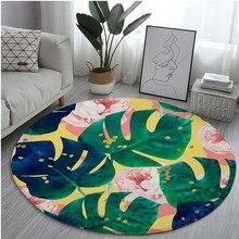 Impresión de planta alfombras de piso decoración del hogar Verde Hoja de hoja de plátano ronda alfombra cocina baño antideslizante alfombra sólida Puerta de alfombra