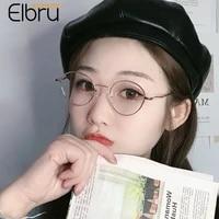 elbru anti blue light myopia glasses women men fashion ultralight small round metal shortsighted eyeglasses diopters 1 0 4 0