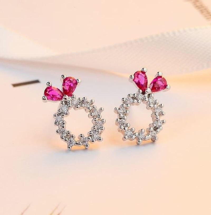 925 prata moda feminina orelha pino coreano temperamento brincos diamante arco pérola brincos de jóias brincos para mulher dropship