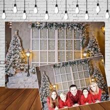 Christmas Backdrop Noel Warm Lights glow Xmas Trees Banner Snowflake Photo Studio Background Photography Portrait Mural Poster