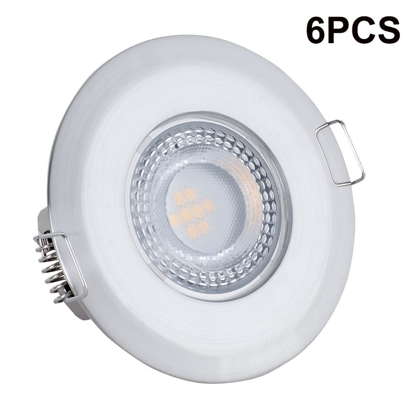 6 uds LED Downlight LED impermeable Ultra delgado 5W ronda AC85-265V lámpara...