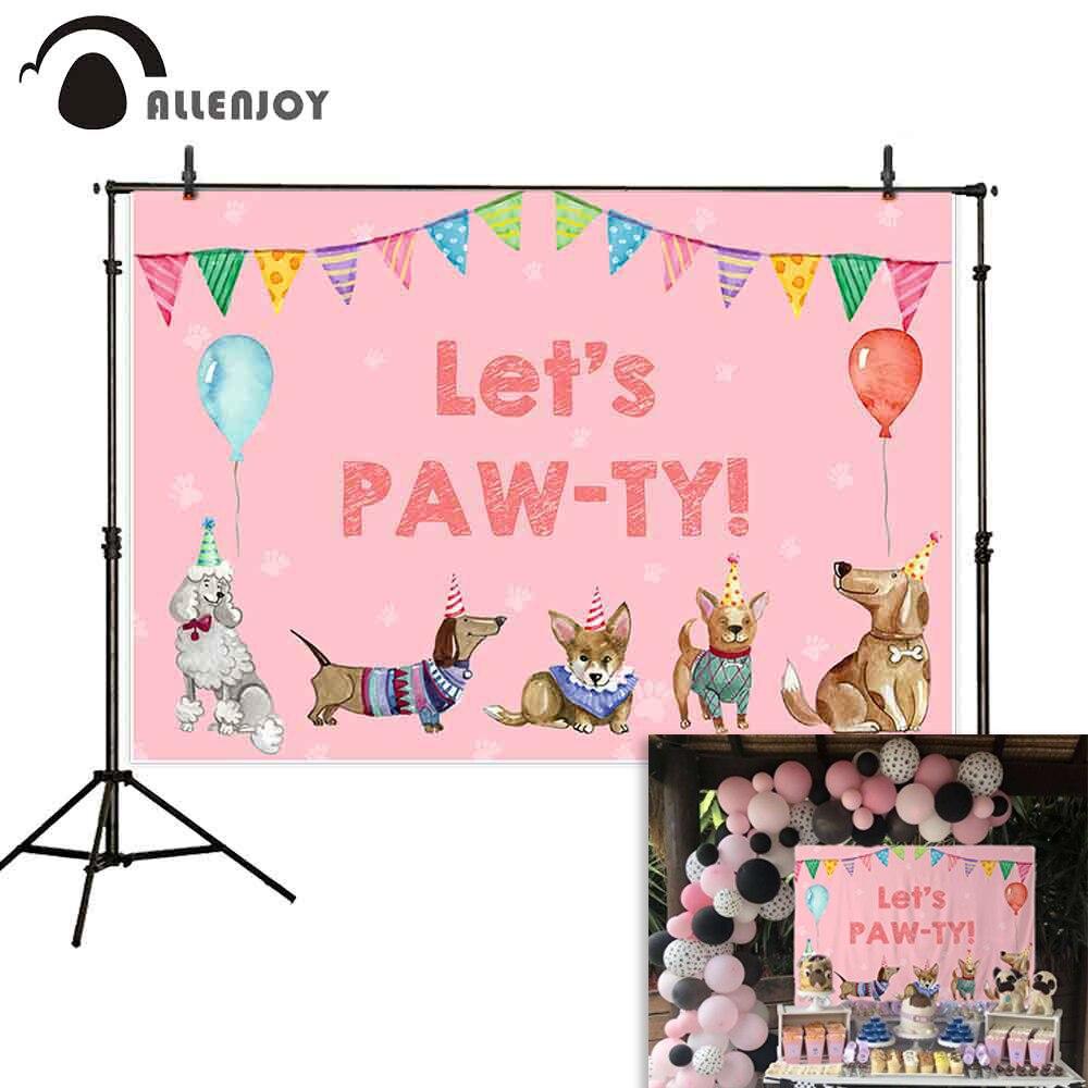 Allenjoy let let s PAW-TY fotografia pano de fundo cães banners balões festa de aniversário babyshower photophone fundos fotográficos