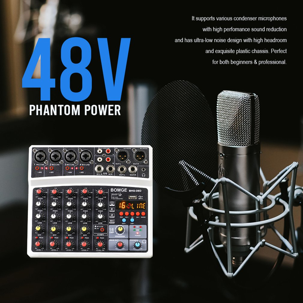 Wireless 6-Channel Audio Mixer Portable Sound Mixing Console USB Interface Computer Input 48V With 16 DSP Echo Power Mixers enlarge