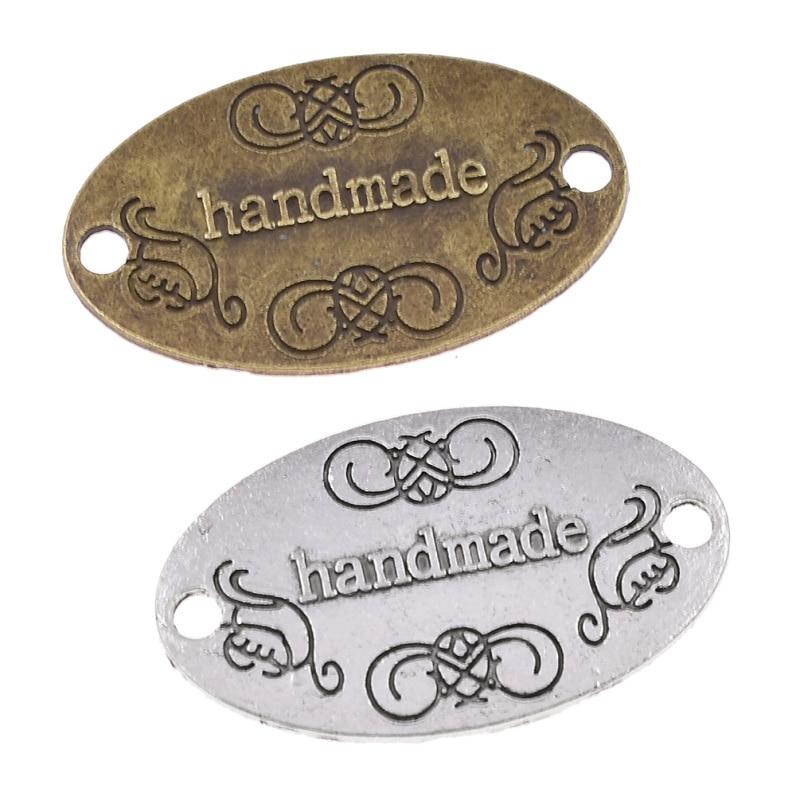 50pcs Vintage Handmade Letter Sewing Metal Labels DIY Craft Women Garment Bag Shoes Tags Accessories Supplies