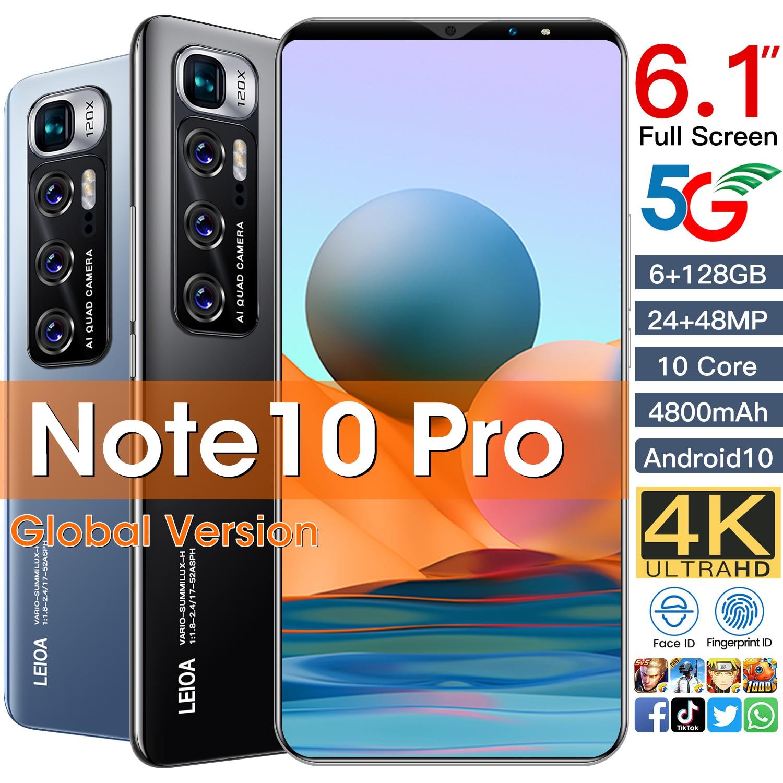 2021 Smartphone Nota 10 Pro 6GB + 128GB 4800mAH Android 10 6,7...