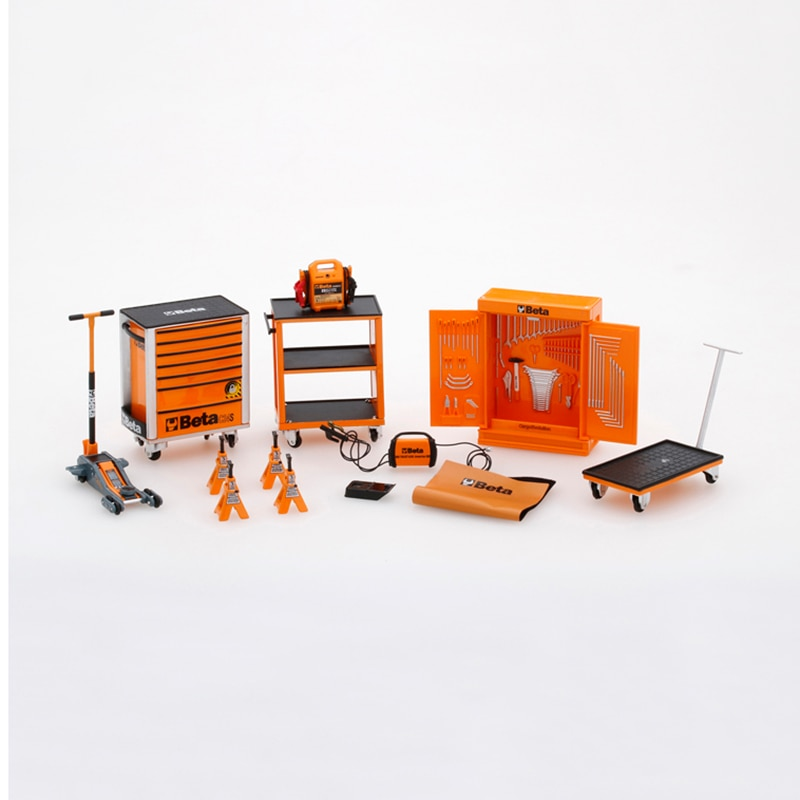 Diecast-ملحقات نموذج سيارة مقياس 1/18 1/43 ، غرفة إصلاح ورشة العمل ، صندوق أدوات محاكاة ، سبيكة ، شاشة تذكارية