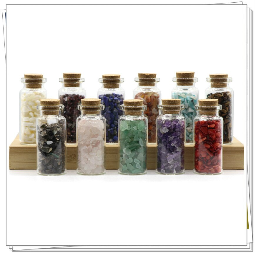 Natural Crystal Agate Shell Gravel Wish Bottle Irregular Feng Shui Stone Drifting New Year Gift Jewelry Storage