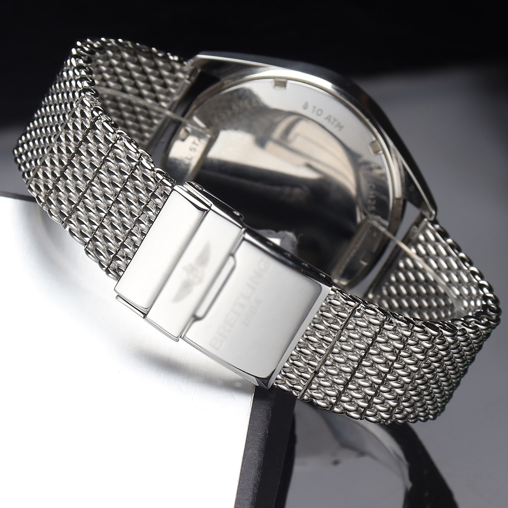 316l Stainless Steel Watchband Solid Metal Band For Breitling Ab2010 Watch Strap Mens Luxury 22 24mm Mesh Bracelet