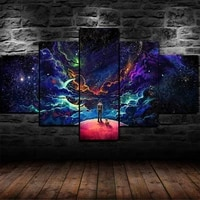 luminous space journey stars 5 panel canvas picture print wall art canvas painting wall decor for living room poster no framed