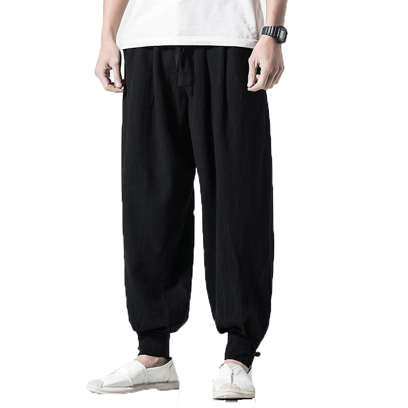 Штаны мужские хлопково-льняные с большим шаговым шнурком, тренировочные брюки, свободные штаны, цвет хаки, черный