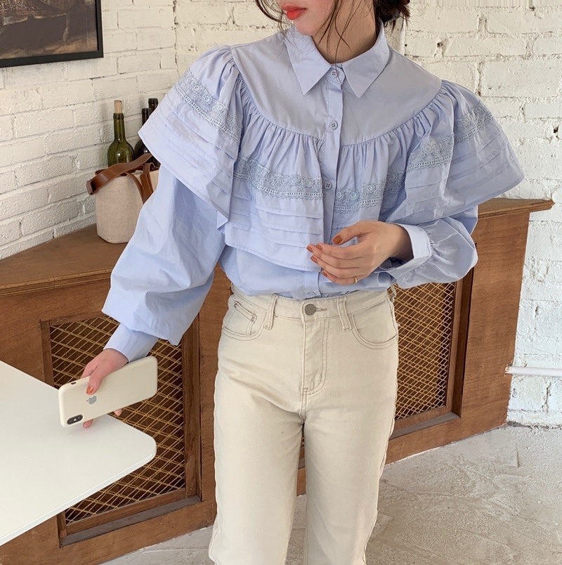 He328d63d66514991b0d5b4b04f6102bez - Spring / Autumn Turn-Down Collar Long Sleeves Loose Cape Solid Buttons Blouse