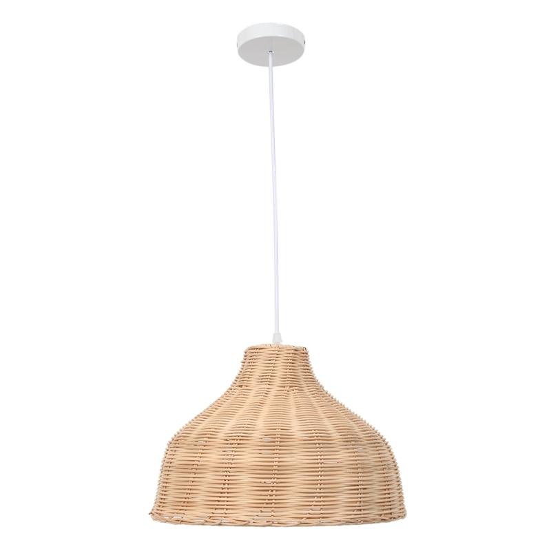 Rattan Hanging Lamp E27 Pendant Light Nordic Chandelier for Kitchen Bedroom Living Room Restaurant Hotel Fixture (35cm in Diamet