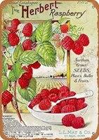 Decor mural Vintage retro 8x12  signe herald raspberry  Fruits amusants  legumes  nourriture douce  decor mural dete  decor de maison  boite en fer  nouveaute  1912