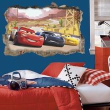 3d disney coches a través de la pared pegatinas para habitaciones de niños, Decoración de casa de dibujos animados Rayo mcqueen calcomanías de pared de pvc arte mural bricolaje carteles