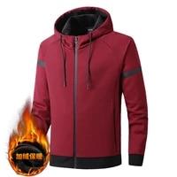 winter thick fleece men sport jacket thermal hoodie running jogging fitness workout casual coat sportswear plus size 8xl