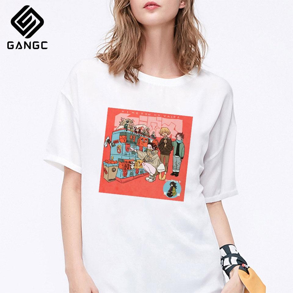 Fashion Demon Slayer T Shirt Women Cartoon Graphic Top Tees Kimetsu No Yaiba Streetwear Harajuku Japanese Anime T-shirt
