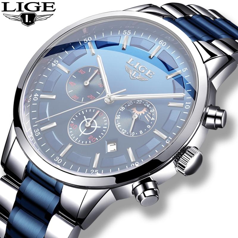 2020 Blue Fashion Watch Men LIGE New All Steel Mens Watches Top Brand Luxury Male Waterproof Quartz Clock Sports Chronograph+Box