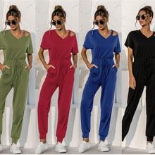 Women Streetwear Solid Color Jumpsuits Hollow Out Drawstring Design Pockets Decor V-Neck Short Sleev