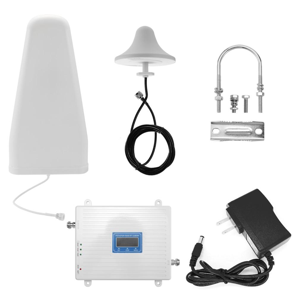 110-220 فولت ثلاثي الموجات مكبر للصوت 900 1800 2100 GSM DCS WCDMA 2G/3G/4G LTE العالمي إشارة الداعم الذكي مكرر عدة للمنزل