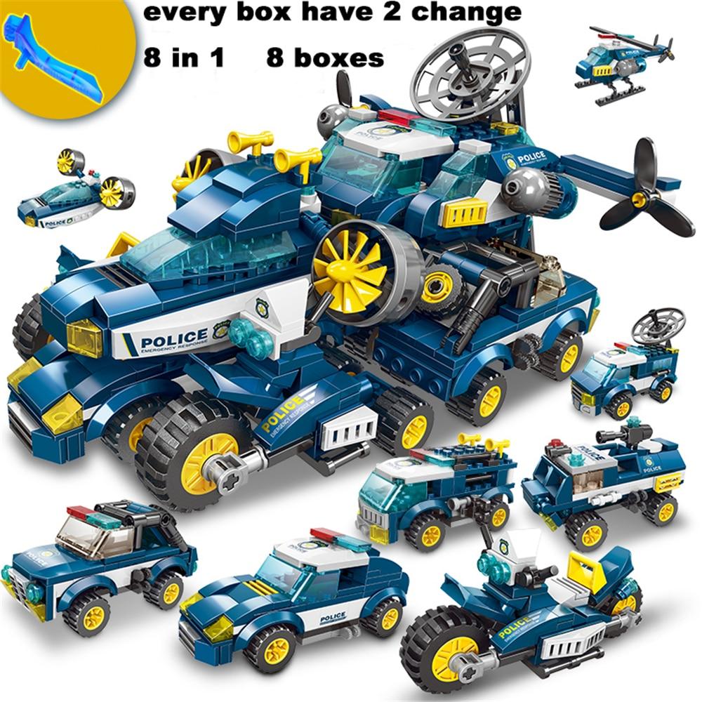668PCS Building Blocks City Police Series Toys Vehicle Aircraft Car Boy Educational Blocks Car Model Bricks Construction Brick