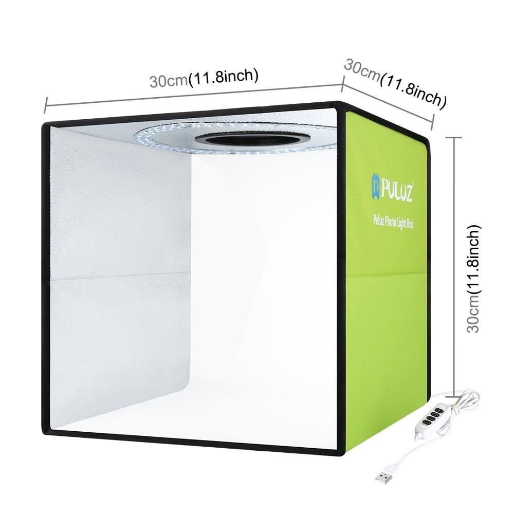 Photo PULUZ 30cm Studio Ring LED Light Box Shooting Tent Desktop Box Kit with 6 Colors Backgrounds Photography LightBox Kits 5V enlarge