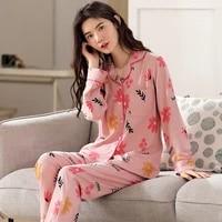 women pajamas 2020 autumn cotton lapel cardigan casual korean home wear pink suit plus size 2 piece set girl sleep clothes