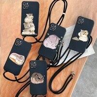 hamsters cartoon cute phone case for iphone 7 8 11 12 se 2020 mini pro x xs xr max plus protective shell funda