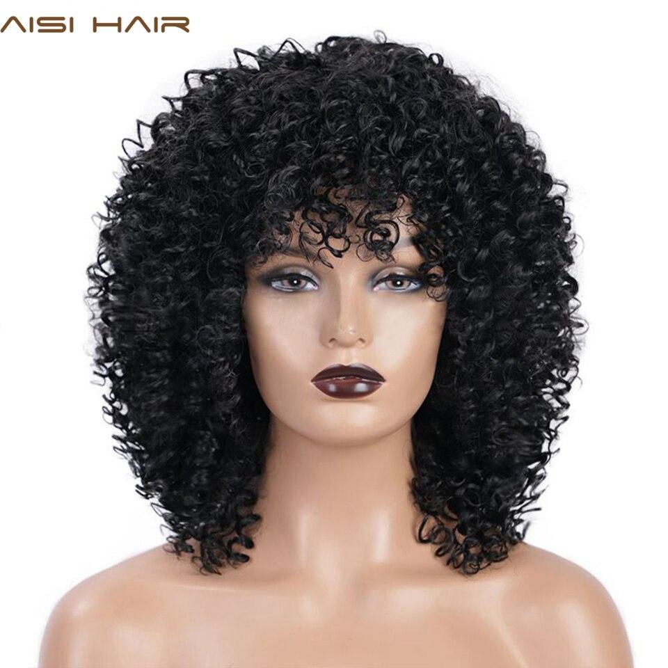 Aisi cabelo sintético peruca afro kinky encaracolado peruca mista marrom e ombre loira natural preto cabelo para cabelo feminino resistente ao calor